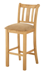 Portland Oak Bar Stool with Fabric Seat Pad - The Rocking Chair