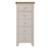 Radnor Oak & Painted Bedroom 5 Drawer Narrow Chest of Drawers