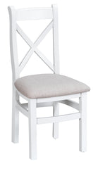 Toronto Painted Cross Back Chair Fabric Seat