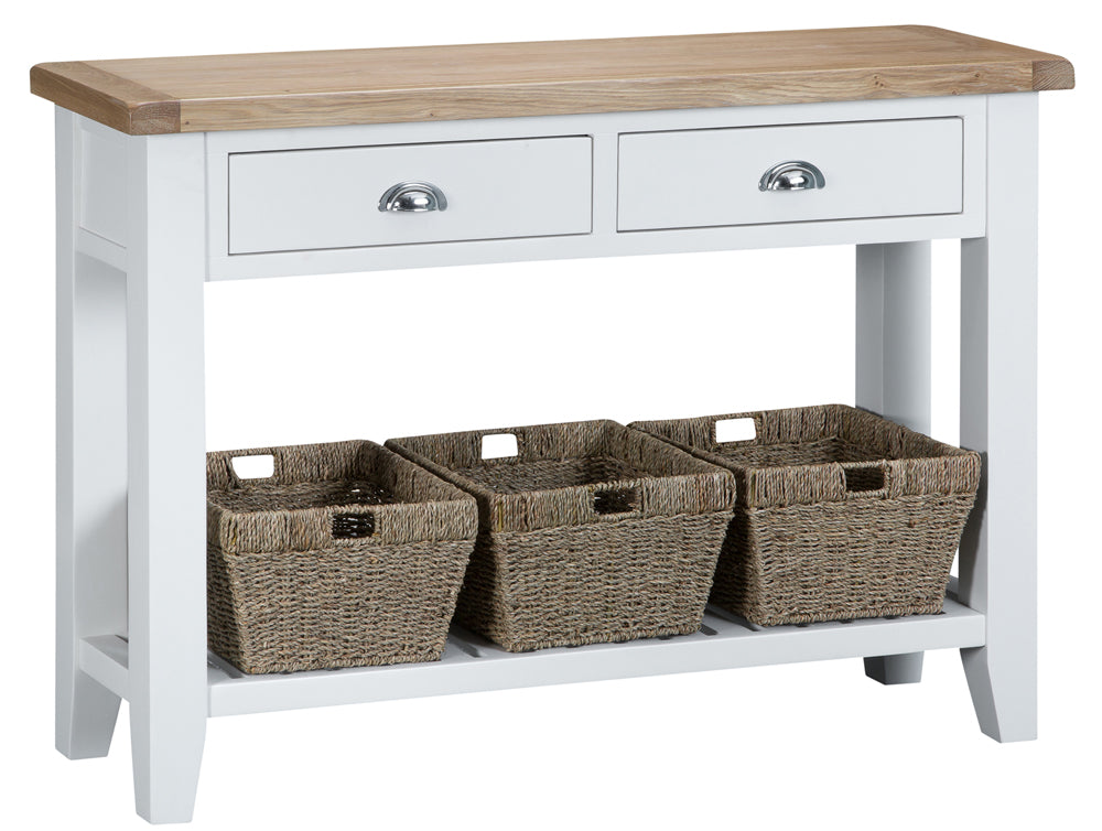 Toronto Painted Large 2 Drawer Console Table with Baskets.