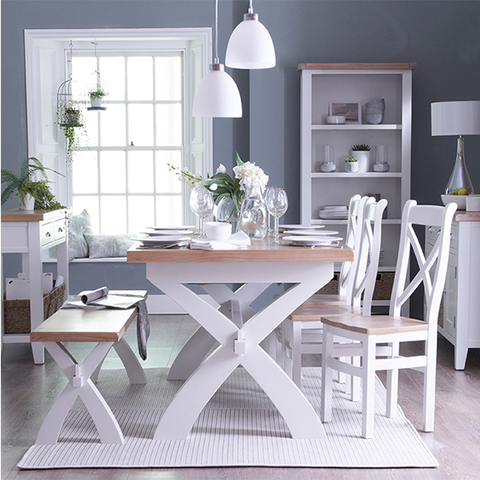 Toronto Painted Extending Dining Table X Leg Various Sizes - The Rocking Chair