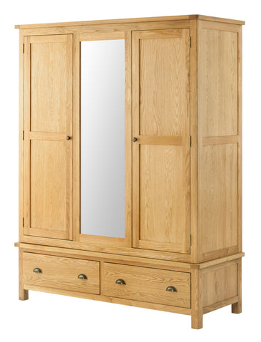 Portland Oak 3 door 2 Drawer Triple Wardrobe