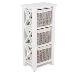 White & Wicker 3 Wicker Basket Vertical X Cabinet - The Rocking Chair