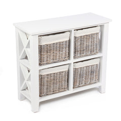 White & Wicker 4 Wicker Basket Square X Cabinet - The Rocking Chair