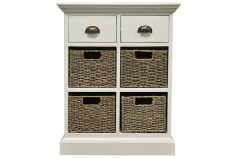 White & Wicker 2 Drawer 4 Wicker Basket Unit - The Rocking Chair