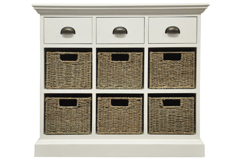 White & Wicker 3 Drawer 6 Wicker Basket Unit - The Rocking Chair