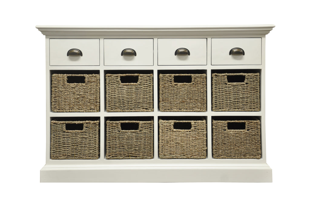 White & Wicker 4 Drawer 8 Wicker Basket Unit - The Rocking Chair