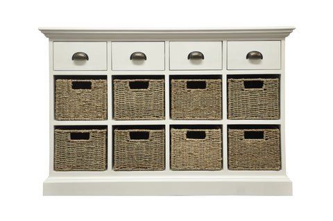 Wicker Merchant 4 Drawer 8 Wicker Basket Unit