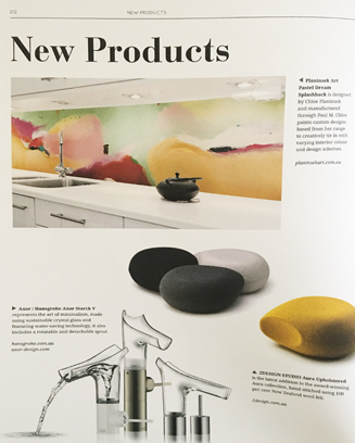 Artwork by Chloe Planinsek printed onto splashbacks by Paul M in Melbourne Australia. Furnishing International magazine 'New Product' feature