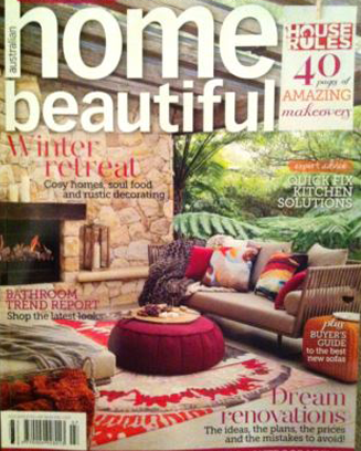 Home Beautiful magazine cover. Featuring artwork cushions by Chloe Planinsek
