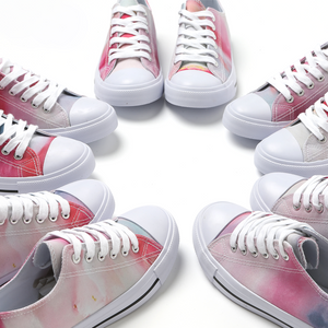 Clouds Of Rouge - Lace Up Artwork Sneakers