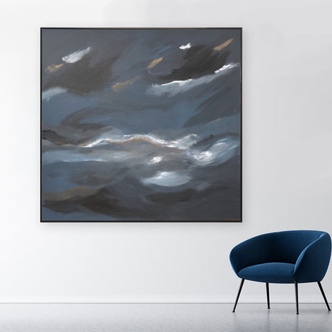 Midnight Wind - CLOUD SERIES 1.55m x 1.55m Italian Linen