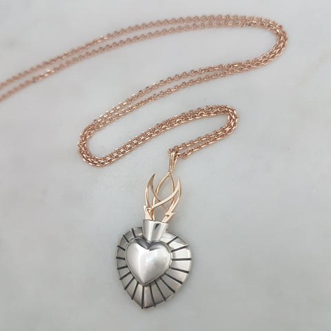 Sacred Heart Pendant - Silver and Rose Gold (petite size)