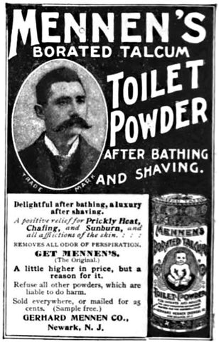 First ad for talcum powder aimed at men from 1898