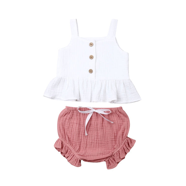 Newborn Baby Girls Button Sleeveless Tank Tok  mini  shorts Outfits  2pcs - Juniorshopstyle