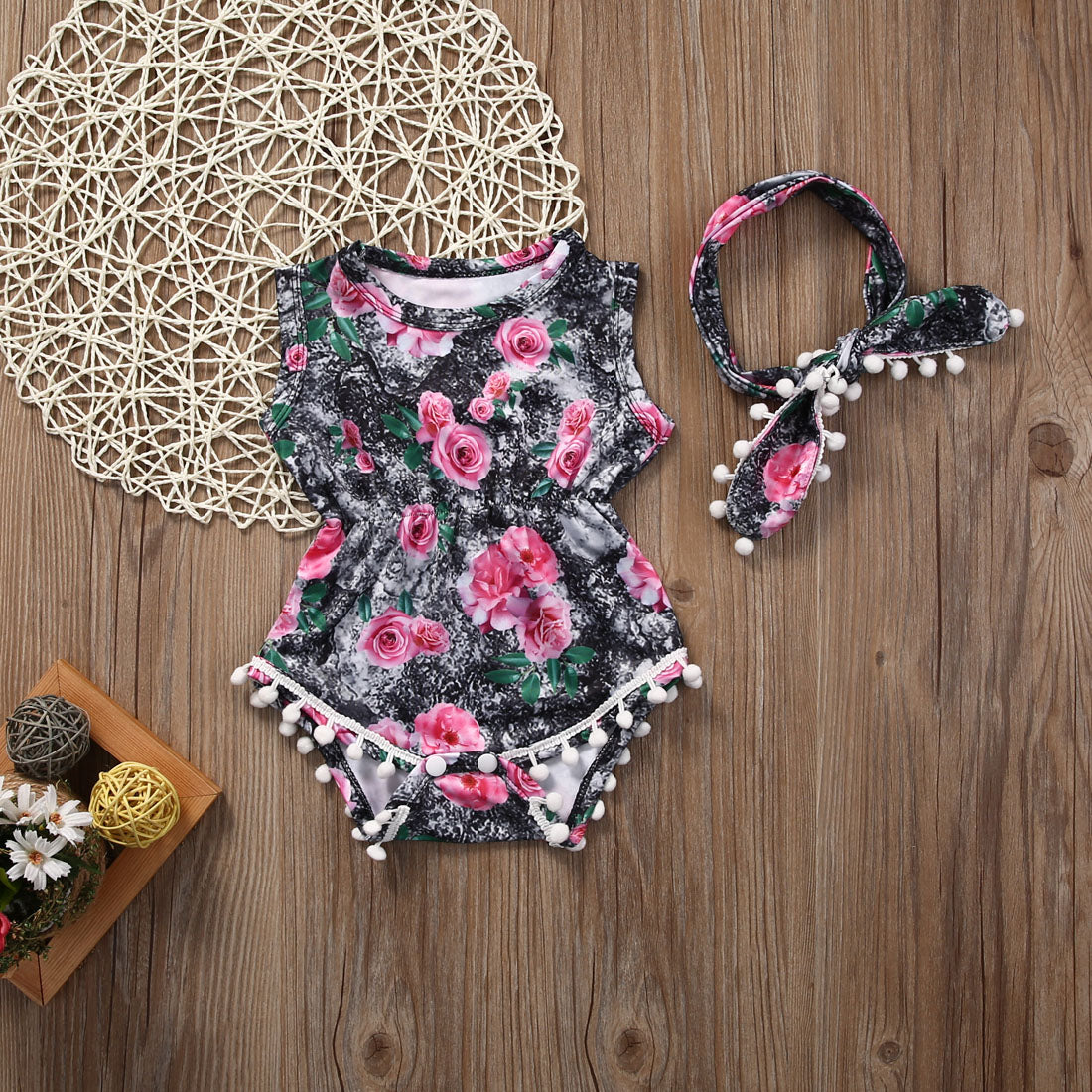 Pink Rose Baby Romper + Hairband - Juniorshopstyle