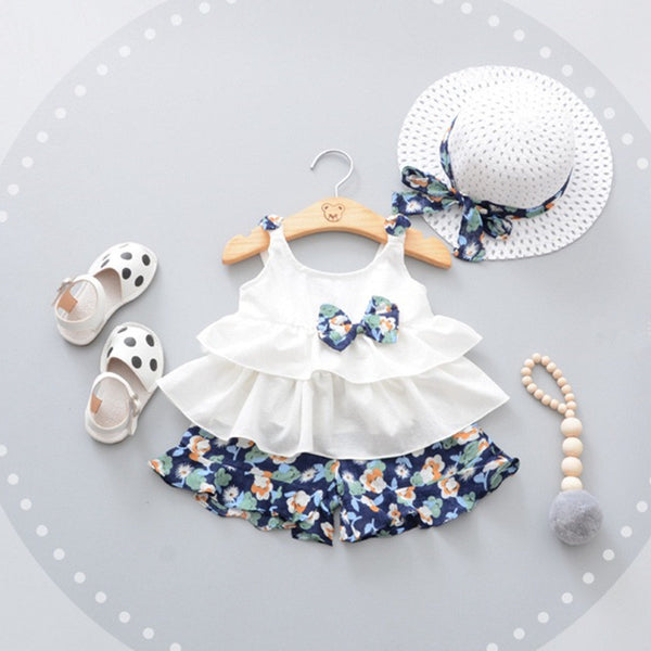 3pcs Cute Bow Girls Beach Style suit - Juniorshopstyle