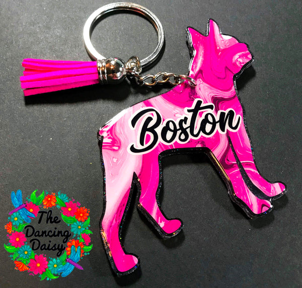 Boston Terrier - dog keychain