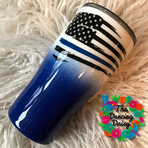 Blue line 20 oz flag double walled tumbler