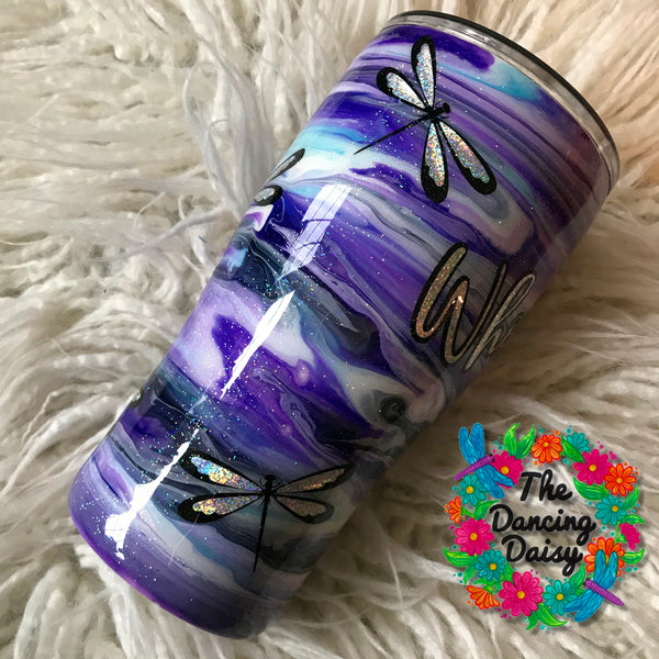 20 oz ink swirl dragonfly tumbler