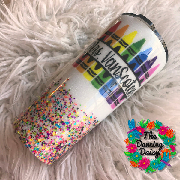 24 oz watercolor crayon teacher tumbler