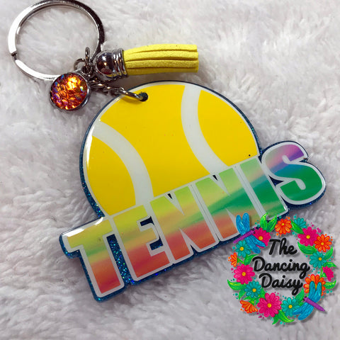 Tennis word with ball keychain