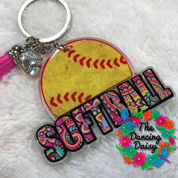 Softball with word Keychain
