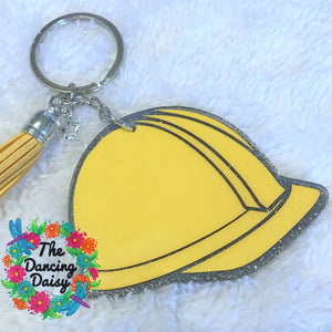 Construction Hard Hat acrylic keychain