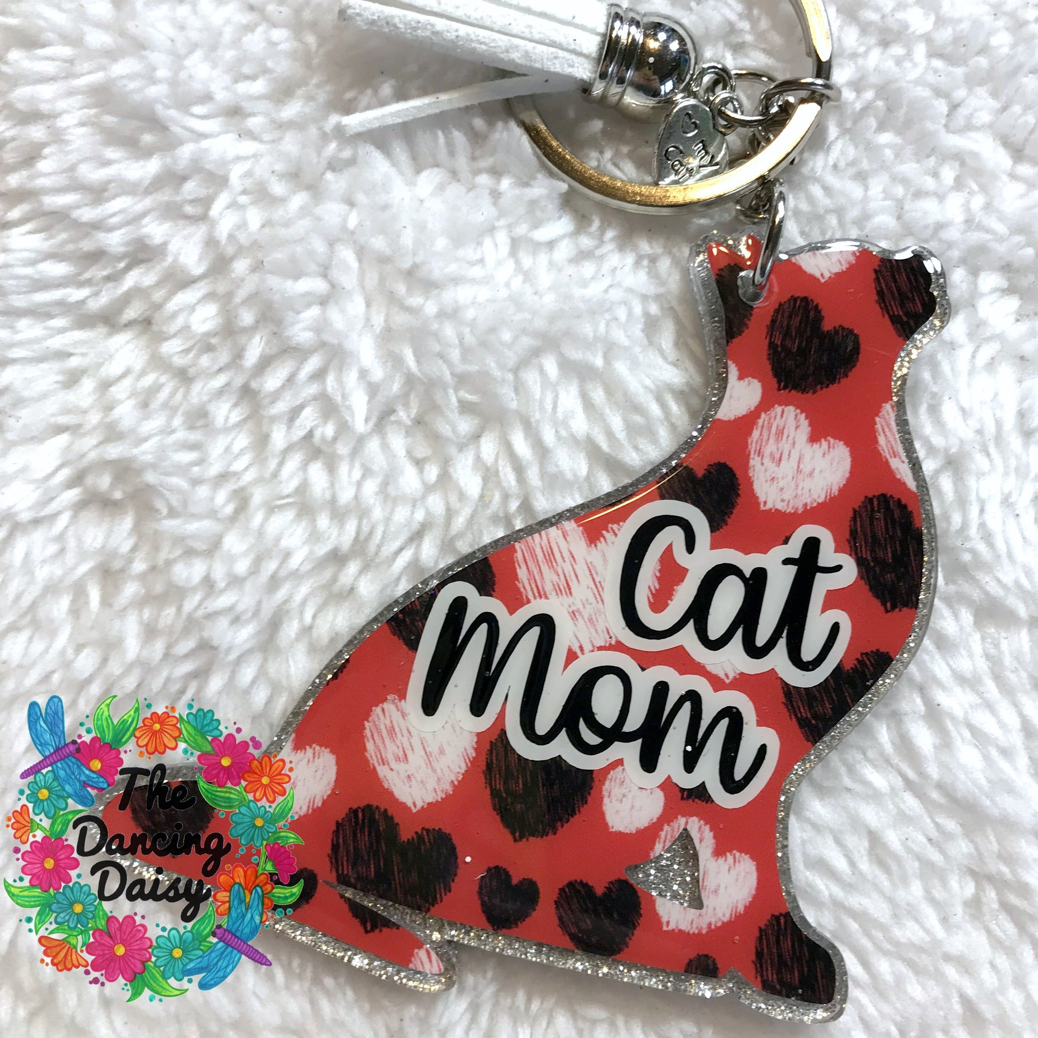 Cat Sitting acrylic keychain