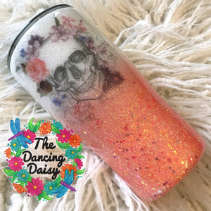 Coral and white Skull tumbler 20 oz