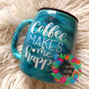 Coffee Makes me Happy - 14 oz traditional mug - ready to ship