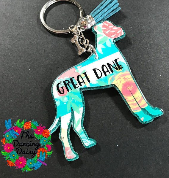 Great Dane - full body- dog keychain