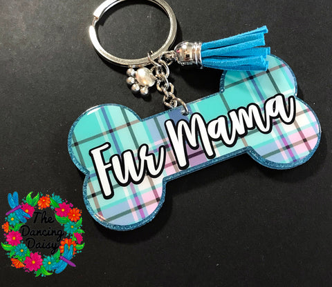 Dog bone - Fur Mama acrylic keychain