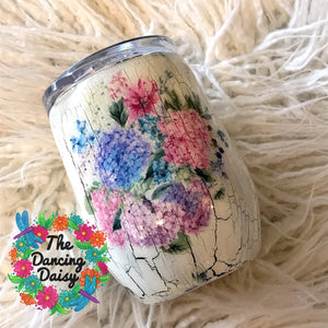 Hydrangea crackle paint 12 oz stemless wine glass tumbler