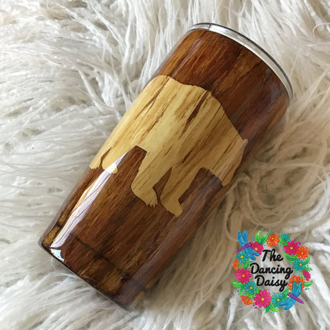20 oz  Bear wood grain tumbler