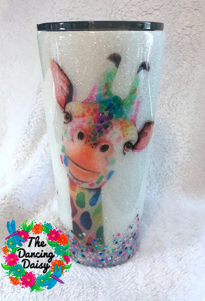 24 oz Glitter giraffe watercolor w/ random glitter bottom