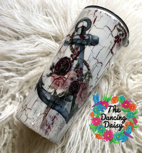 Anchor and floral 24  oz crackle painted tumbler