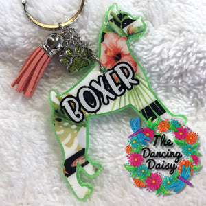 Cropped Boxer dog keychain