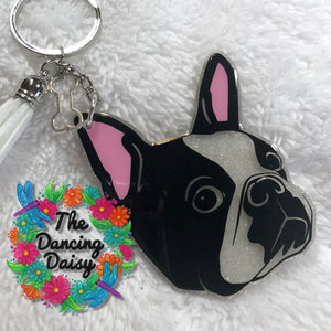 Boston Terrier Face - dog keychain