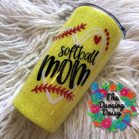 Larger decal Softball Mom 20 oz double walled tumbler