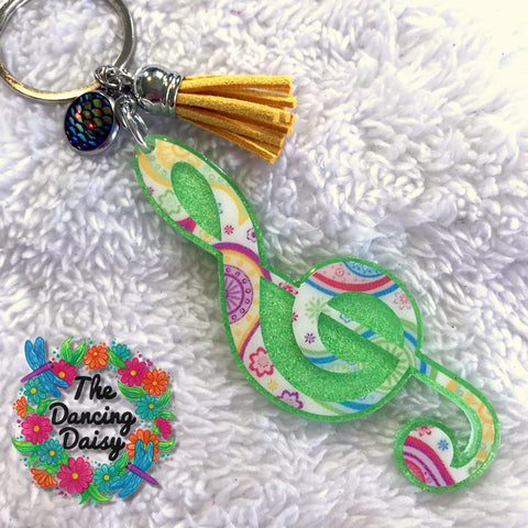 Treble Clef music note acrylic keychain