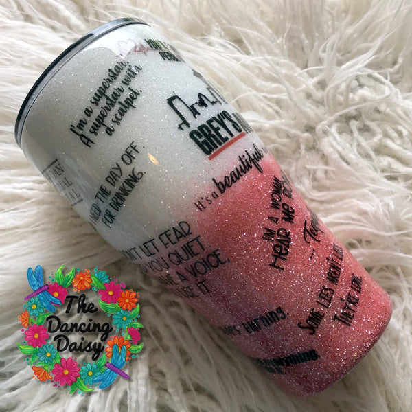30 oz Grey's Anatomy ombre themed tumbler