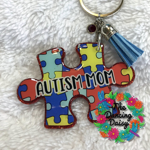 Autism Puzzle piece #2 awareness acrylic keychain