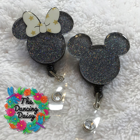 Mickey Mouse or Minnie Mouse Badge Reel
