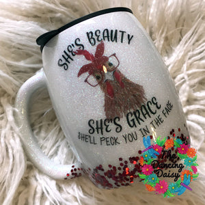 14 oz Chicken / hen beauty and grace handled mug