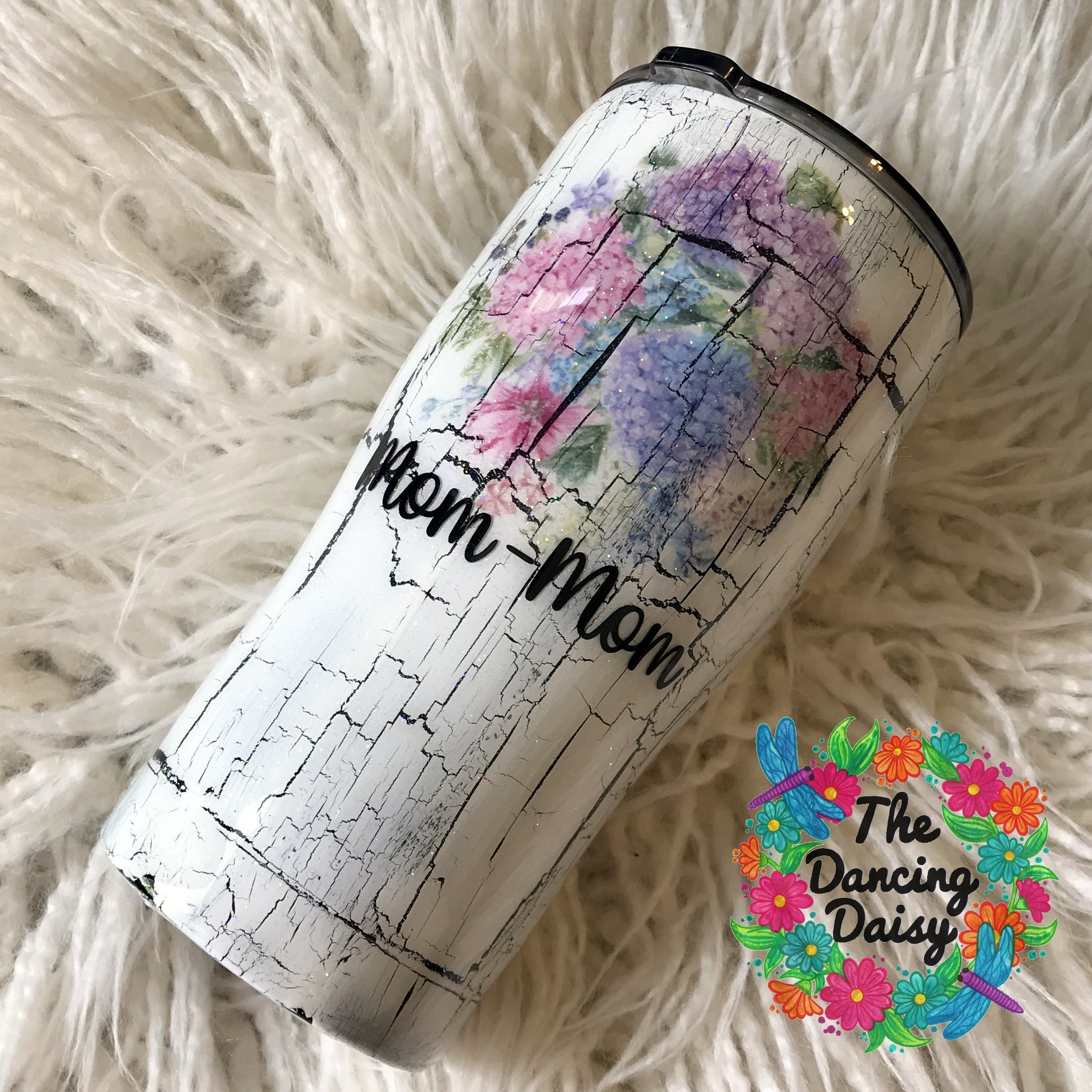 Crackle paint hydrangea floral 20 oz tumbler (with name)