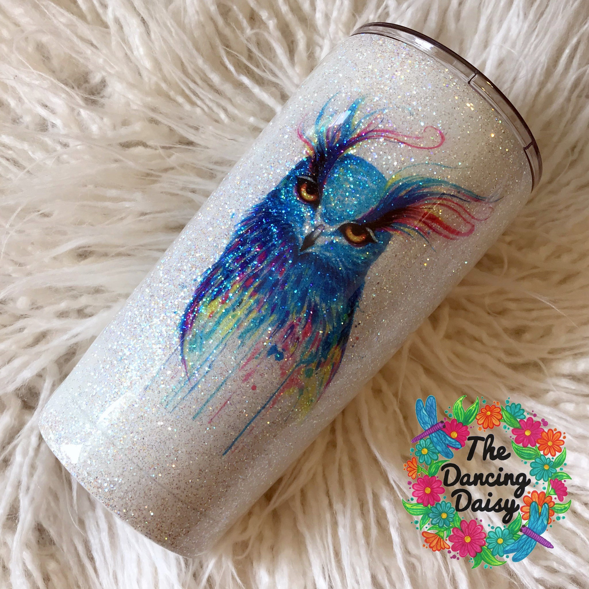 20 oz glitter watercolor owl tumbler
