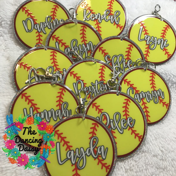 Softball Keychain