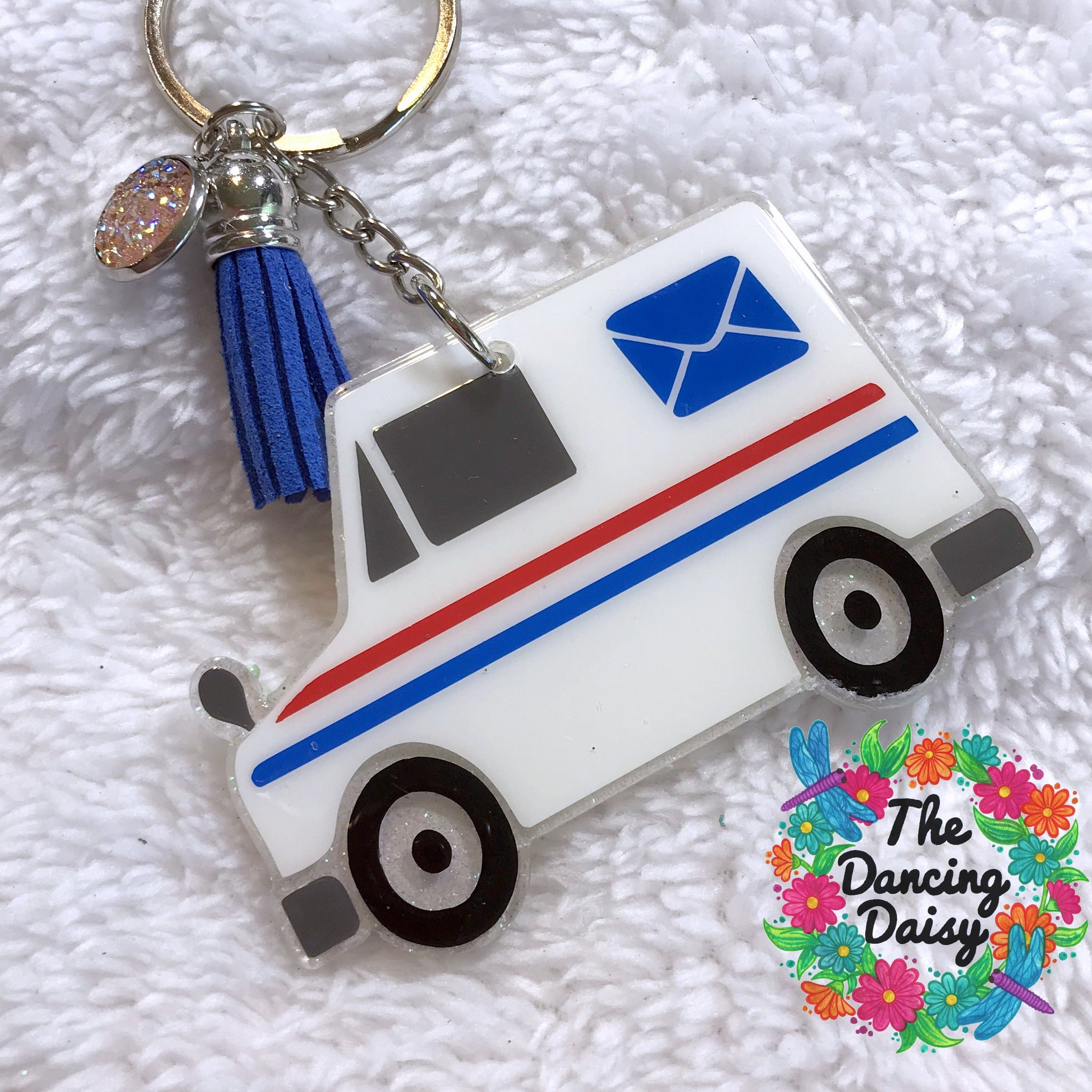 Postal Delivery truck acrylic keychain