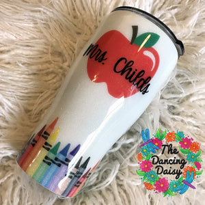 30 oz watercolor crayon and apple teacher tumbler